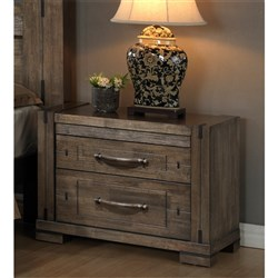 Charlie - Bedside Table, 2 Drawer - Charcoal Grey