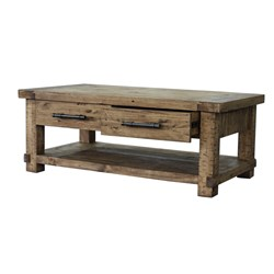 Industrial - Coffee Table, 4 Drawer - Recycled Pine/Weathered Pine